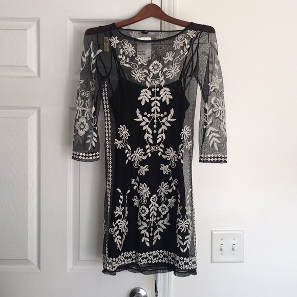 09dafb3599ab2 H&M Dresses | Hm Black Sheer White Embroidered Dress | Poshmark